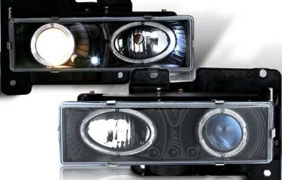 custom, chevy, chevrolet, silverado, 1500, c/k, headlights, halo, led, black