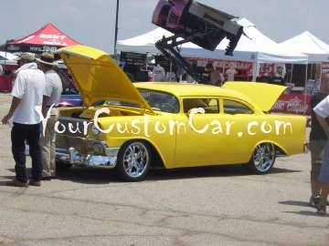 57 chevy hotrod shaved yellow
