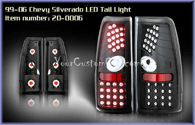 silverado led taillights, sierra led taillights, custom silverado, custom sierra, 99-06, chevrolet led