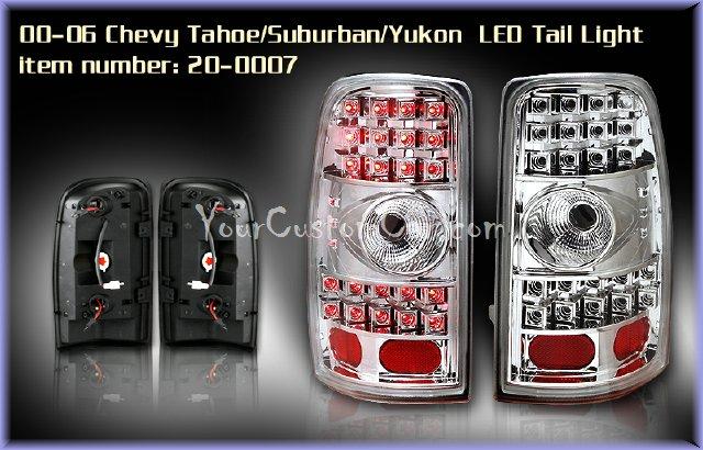 tahoe led taillights, suburban led taillights, yukon led taillights, custom tahoe suburban yukon, 00-06, chevrolet led
