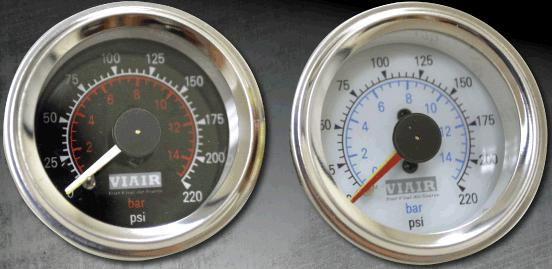 "2/""DUAL NEEDLE PRESSURE AIR GAUGES LIGHT//BRACKET//4 SWITCH SUSPENSION 220PSI WHITE"