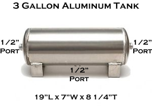 air tank, 3 gallon, aluminum, 1/2 inch ports, 3 port
