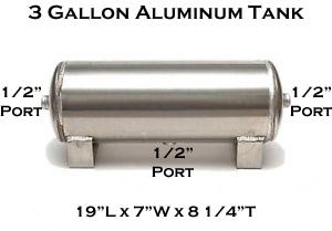 air tank, 3 gallon, aluminum, 1/2 inch ports, 3 port