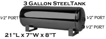 air tank, 3 gallon, black, 1/2 inch ports, 3 port