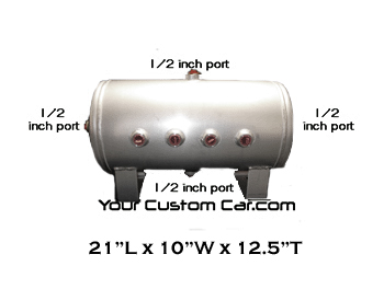 air tank, 5 gallon, aluminum, 1/2 inch ports, 8 port