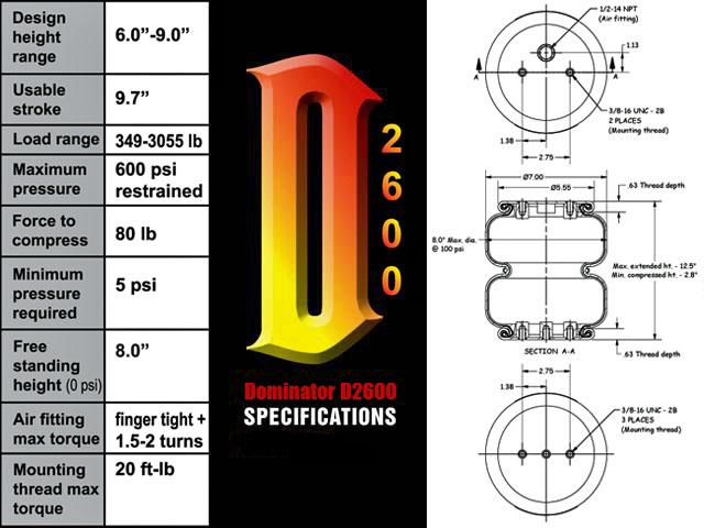 dominator 2600 air bags, d2600, airlift, easystreet, dominator, air bag suspension, best air bag