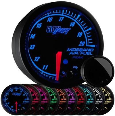 10 color, black, elite, wideband air fuel ratio gauge, wideband air fuel ratio gauge, black afr gauge, led afr gauge, wide band afr gauge