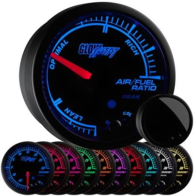 10 color, black face, elite, led, narrowband, air, fuel, ratio, gauge, narrowband air fuel ratio gauge, black afr gauge, led afr gauge, air fuel gauge