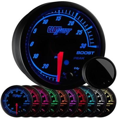 black elite boost gauge, 30psi, boost gauge, led boost gauge, 10 color boost gauge, turbo gauge