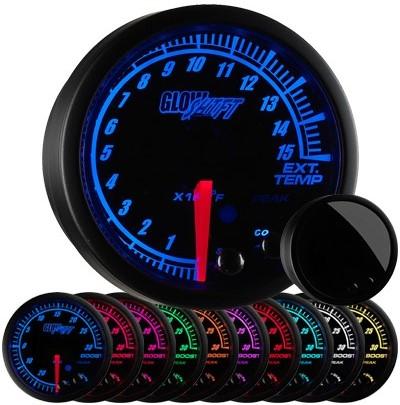 black face, elite, 10 color, exhaust gas temperature gauge, 1500 degree, pyrometer gauge, egt gauge, led exhaust gauge, 10 color exhaust gauge
