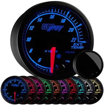 black face, elite, 10 color, led, exhaust gas temperature gauge, 2400 degree, egt gauge, led exhaust gauge, 10 color exhaust gauge