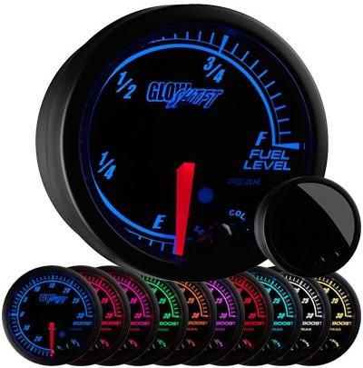 10 color, black face, elite, fuel level gauge, led fuel level gauge, black fuel gauge, led gas gauge
