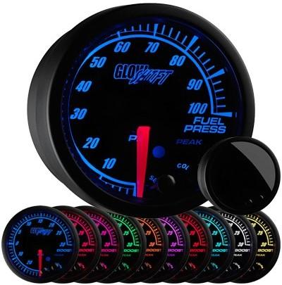 black face, elite, 10 color, led fuel pressure gauge, 100 psi fuel gauge
