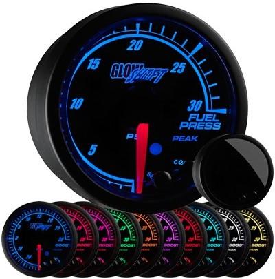 black face, elite, 10 color, led fuel pressure gauge, 30 psi fuel gauge