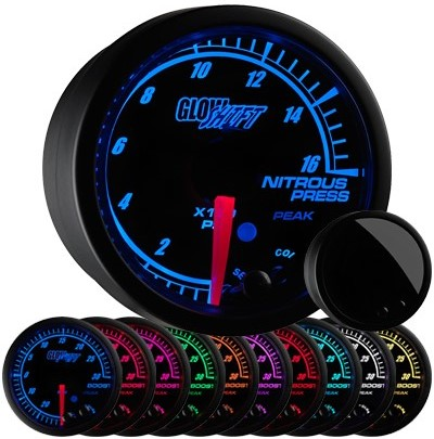 10 color, black face, elite, nitrous pressure gauge, led nitrous pressure gauge, white nos gauge, led nos gauge, nitro gauge