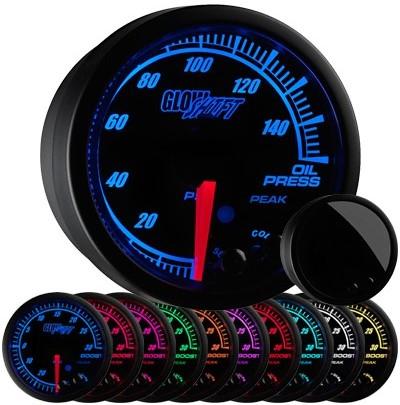 10 color, black face, elite, oil pressure gauge, led oil pressure gauge, oil press gauge, psi oil pressure gauge