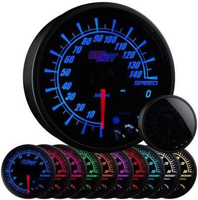 10 color, black face, elite, speedometer, led speedometer gauge, speedometer gauge, black speed gauge, led speed gauge