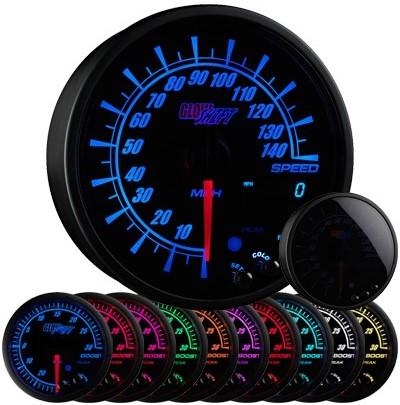 10 color, black face, elite, speedometer, led speedometer gauge, speedometer gauge, black speed gauge, led speed gauge