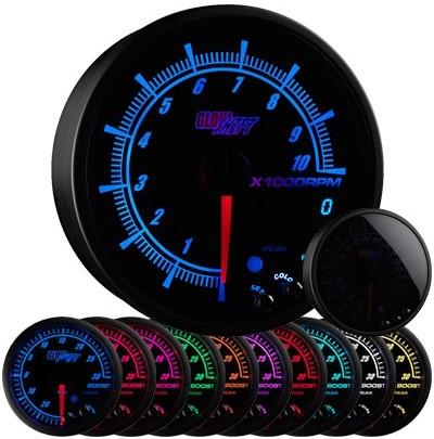 10 color, black face, elite, tachometer, led tachometer gauge, tach gauge, black tack gauge, led tack gauge