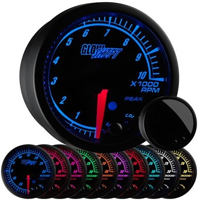 10 color, black, face, elite, 3, inch, tachometer, led tachometer gauge, tach gauge, black tack gauge, led tack gauge