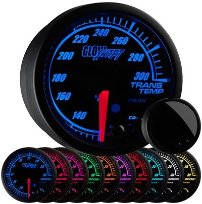 black face, elite, 10 color, transmission temperature gauge, trans temp gauge, led transmission gauge, 10 color transmission temp gauge