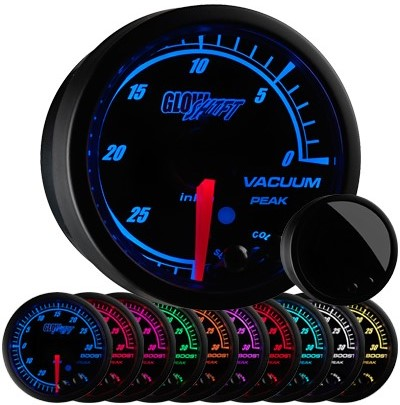 10 color, black face, elite, vacuum gauge, led vacuum gauge, vacuum gauge, boost vacuum gauge