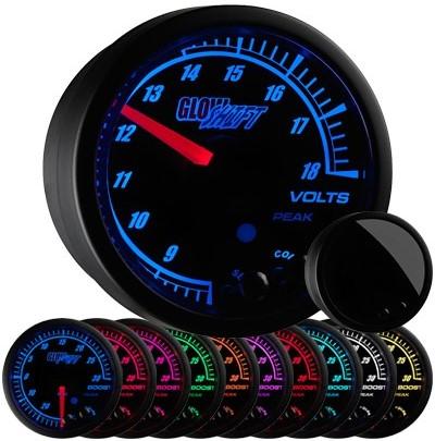 10 color, black face, elite, volt , gauge, led volt gauge, voltmeter gauge, volt meter gauge, 12 volt gauge