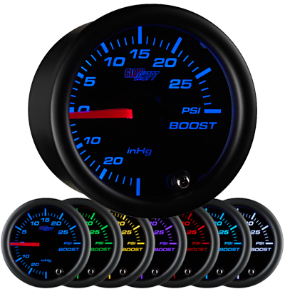 black boost gauge, 30psi,  boost gauge, led boost gauge, 10 color boost gauge, turbo gauge