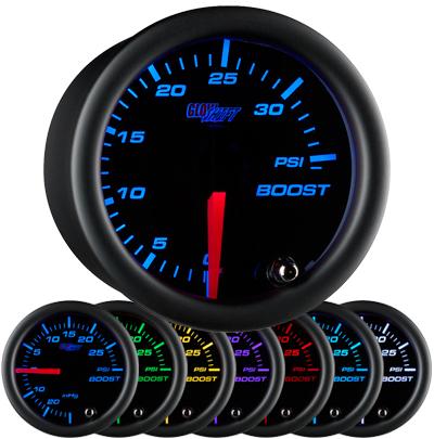 black face boost gauge, 35 psi boost gauge, led boost gauge, 35 pound boost gauge