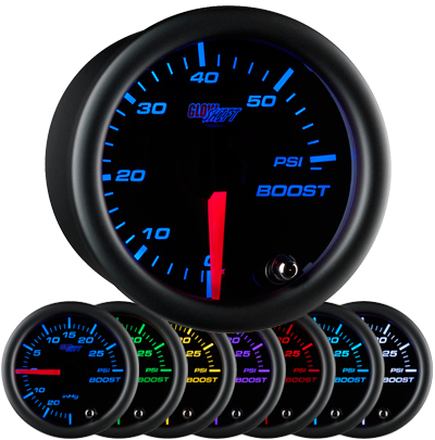 black face boost gauge, 60 psi boost gauge, led boost gauge, 60 pound boost gauge