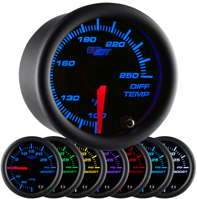 7 color differential temperature gauge, black face differential gauge, led differential gauge, truck differential gauge