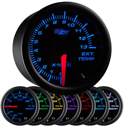 black face celcius exhaust gas temperature gauge, 1300 degree celsius, egt gauge, led exhaust gauge, 7 color exhaust gauge