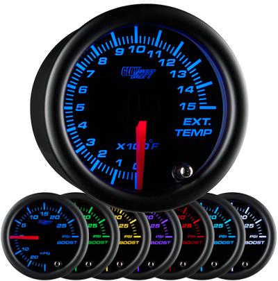 black face exhaust gas temperature gauge, 1500 degree, egt gauge, led exhaust gauge, 7 color exhaust gauge