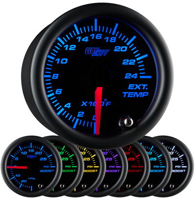 black face exhaust gas temperature gauge, 2400 degree, egt gauge, led exhaust gauge, 7 color exhaust gauge