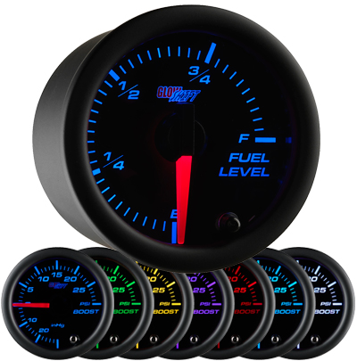 7 color fuel level gauge, led fuel level gauge, black fuel gauge, led gas gauge