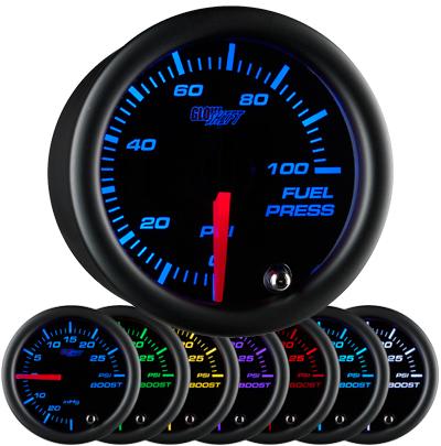 7 color fuel pressure gauge, black face fuel pressure gauge, 100 psi fuel gauge