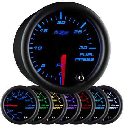 7 color fuel pressure gauge, black face fuel pressure gauge, 30 psi fuel gauge