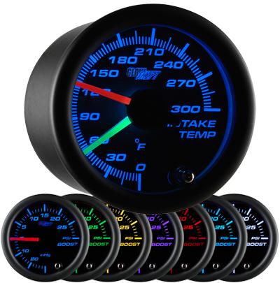 intake temperature gauge, led intake temperature gauge, intake gauge, black air temp gauge, led air temperature gauge