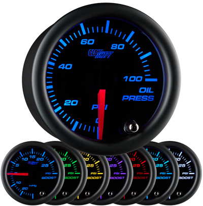7 color black face oil pressure gauge, led oil pressure gauge, oil press gauge, 100 psi oil pressure gauge