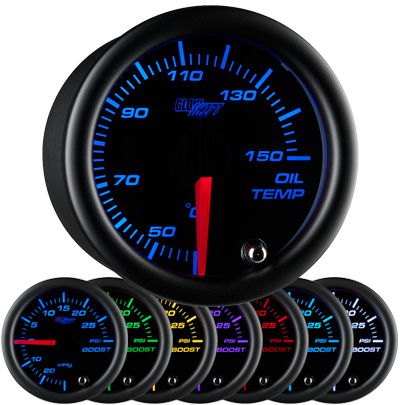 7 color oil temperature gauge, celsius oil temp gauge, black face oil temp gauge, engine oil temp gauge, led oil gauge