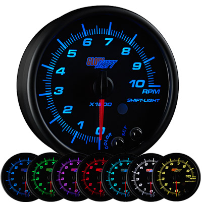 7 color tachometer, led tachometer gauge, tach gauge, black tack gauge, led tack gauge