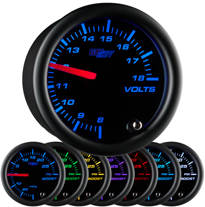 7 color, black face, volt , gauge, led volt gauge, 12 volt gauge