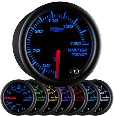black face water temperature gauge, black face coolant temperature gauge, black face water temp gauge, black face coolant temp gauge, led water temp, led coolant temp