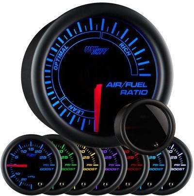 tinted narrow band air fuel ratio gauge, narrowband air fuel ratio gauge, black afr gauge, led afr gauge, air fuel gauge