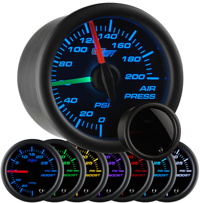 air suspension gauge, air bag gauge, 200 psi, dual pressure air gauge, air suspension, air bag gauge