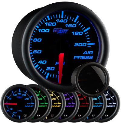 air suspension gauge, air bag gauge, 200 psi, single pressure air gauge, air suspension, air bag gauge