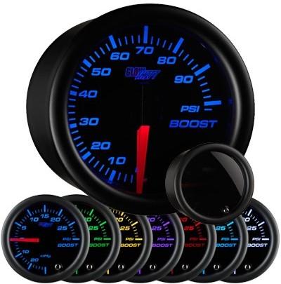 tinted black face boost gauge, 100 psi boost gauge, led boost gauge, 100 pound boost gauge