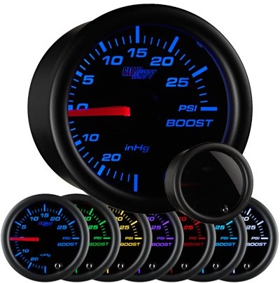 tinted black boost gauge, 30psi, boost gauge, led boost gauge, 10 color boost gauge, turbo gauge