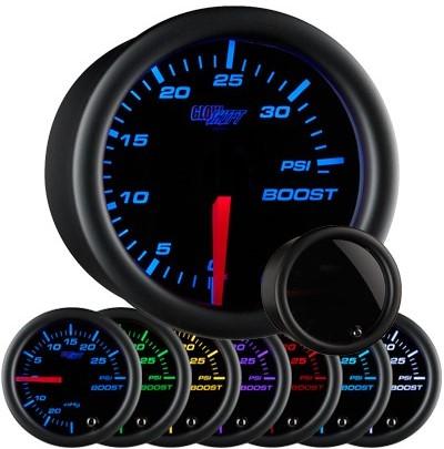 tinted black face boost gauge, 35 psi boost gauge, led boost gauge, 35 pound boost gauge