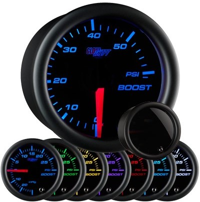 tinted black face boost gauge, 60 psi boost gauge, led boost gauge, 60 pound boost gauge